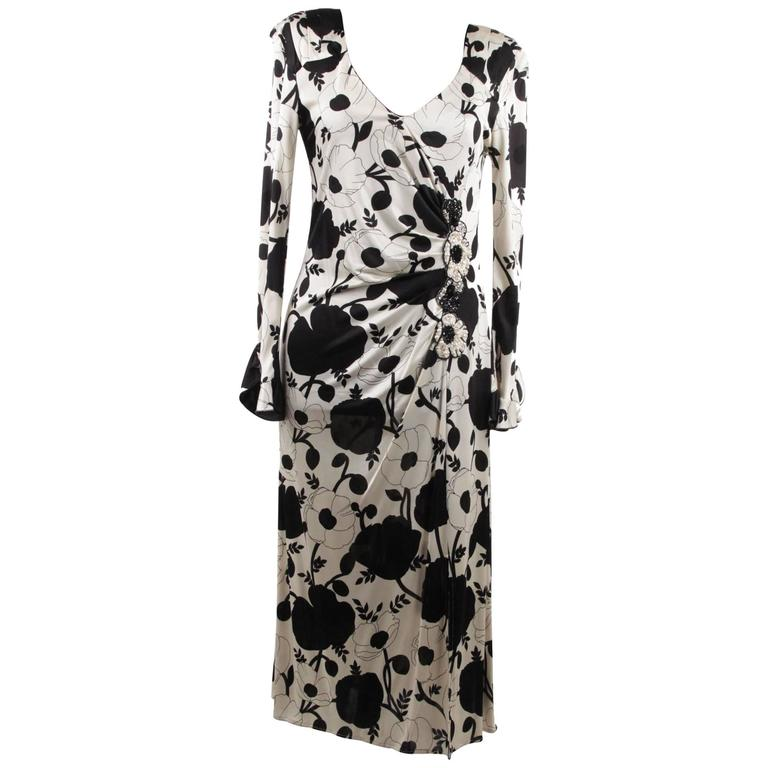 BLUMARINE Black & White Floral SHEATH DRESS Wrap Style w/ Beading