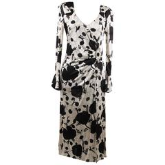 BLUMARINE Black & White Floral SHEATH DRESS Wrap Style w/ Beading