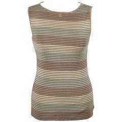 CHANEL Vintage Striped Cotton Knit SLEEVELESS TOP Tank Sz 40