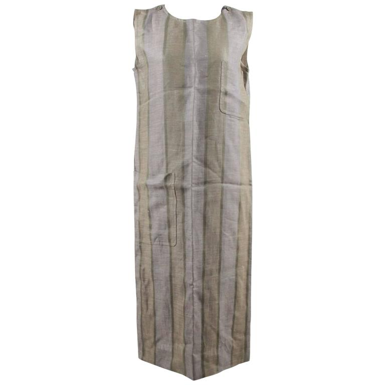 CHRISTIAN DIOR Vintage Green Striped SLEEVELESS SMOCK DRESS Size 36