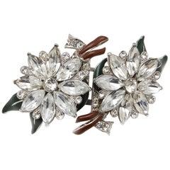 Coro Large Vintage Floral Duette Brooch Fur Clips