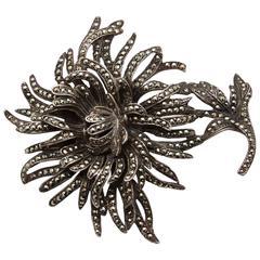 Vintage Silver & Marcasite Chrysanthemum Brooch