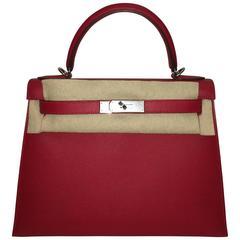 Brand New Hermes Kelly 28 Rouge Casak Epsom PHW