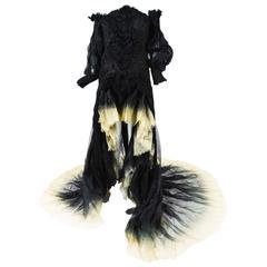 Alexander McQueen SS11 Runway Black Cream Silk Ombre Ruched Dress Gown SZ 44