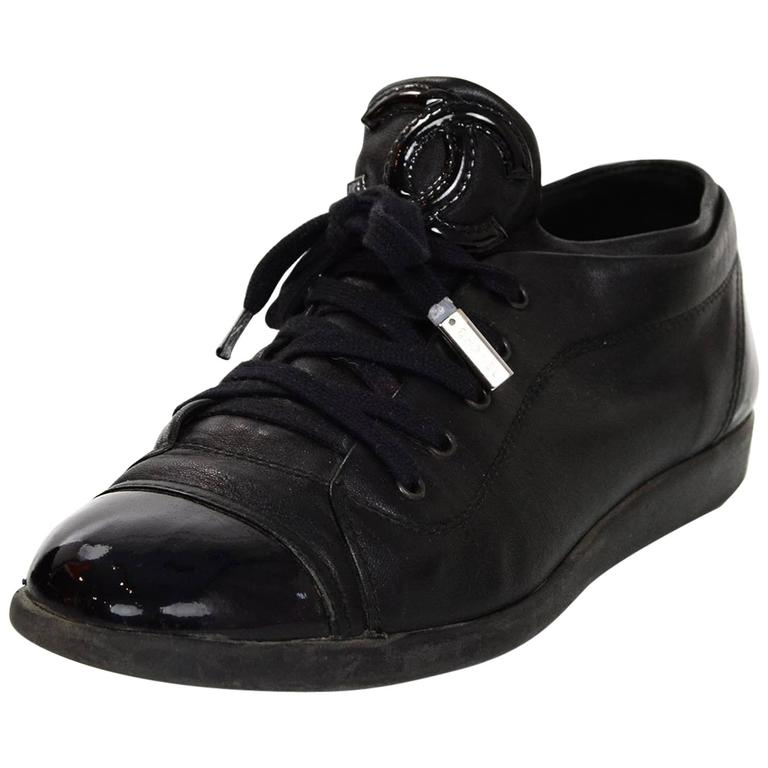 Chanel Black Leather CC Sneakers sz 38 w/DB For Sale
