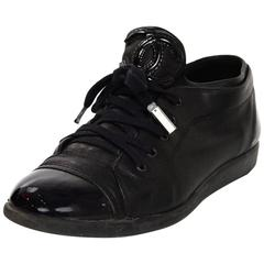 Chanel Black Leather CC Sneakers sz 38 w/DB