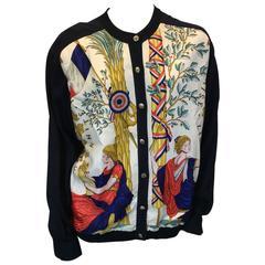 Hermes Printed Silk Cardigan