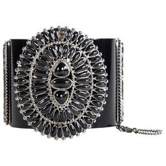 Chanel Bracelet - 2014 - Cuff Black Resin CC Logo Silver Medallion Gripoix Chain