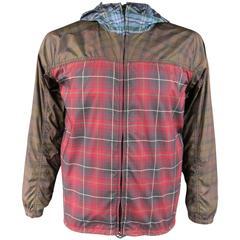 Men's COMME des GARCONS 40 Red Brown & Blue Plaid Hooded Windbreaker