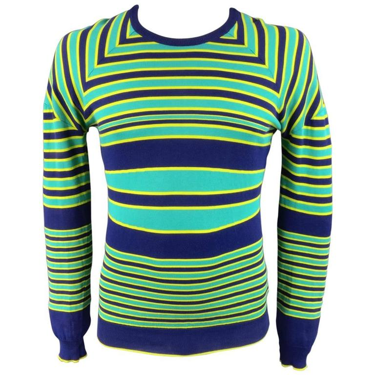 JIL SANDER Sweater - Smalll Seafoam Green Yellow & Navy Striped Cotton Pullover