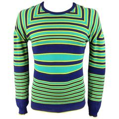 JIL SANDER Sweater - Smalll Seafoam Green Yellow & Navy Striped Cotton Pullover