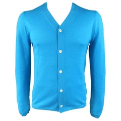 Comme des Garçons Men's Shirt Aqua Blue Wool V Neck Cardigan
