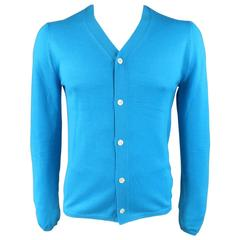Men's COMME des GARCONS SHIRT Size L Aqua Blue Wool V Neck Cardigan