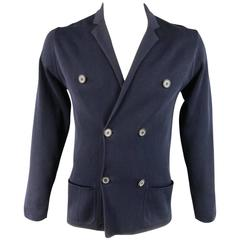 Men's LANVIN Jacket 42 Navy Cotton Double Breasted Knit Cardigan
