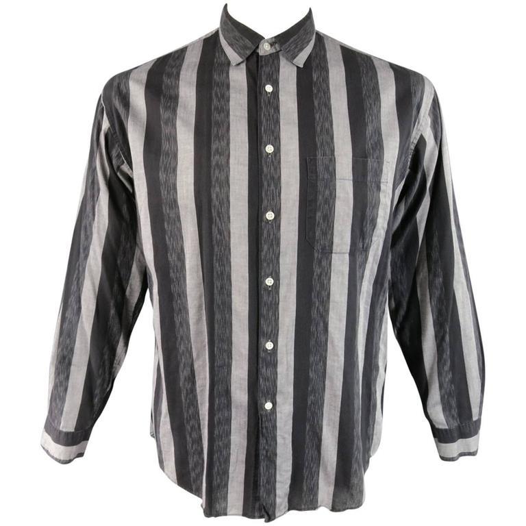 Men 39 S Yamamoto Size L Grey And Black Striped Cotton Long