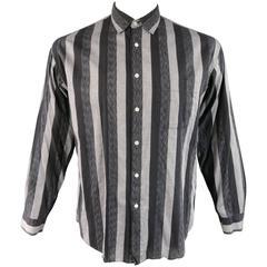 Men's YAMAMOTO Size L Grey & Black Striped Cotton Long Sleeve Shirt