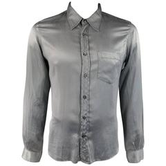 Men's NICOLO CESCHI BERRINI Size L Grey Silk / Cotton Satin Long Sleeve Shirt