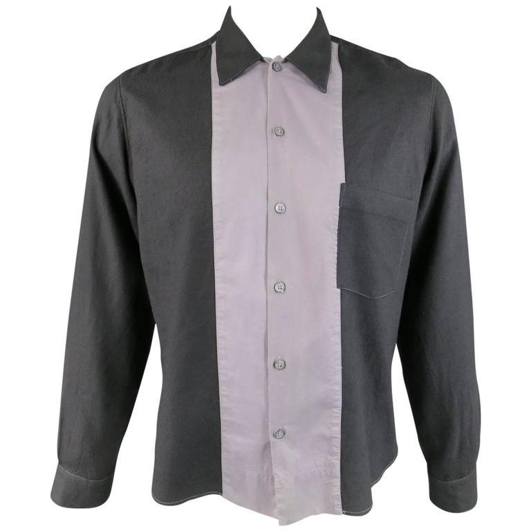 ANN DEMEULEMEESTER Shirt - Size M Charcoal & Lavender Color Block Wool / Cotton