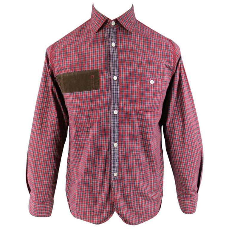 Men's JUNYA WATANABE Size S Red Plaid Cotton Brown Corduroy Long Sleeve Shirt
