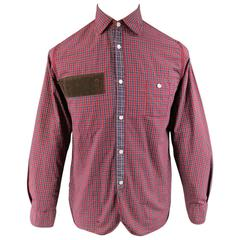 Men's JUNYA WATANABE Size S Red Plaid Cotton Brown Corduroy Long Sleeve Shirt
