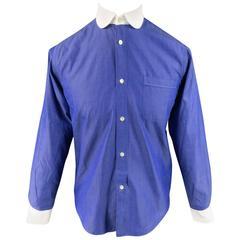 JUNYA WATANABE MAN Size S Light Navy Cotton White Club Collar Long Sleeve Shir
