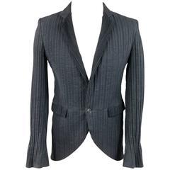 Men's MARKUS STICH Jacket 36 Black Cotton Textured Single Button Notch Lapel