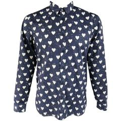 Men's BURBERRY PRORSUM Size L Navy & White Heart Print Cotton Long Sleeve Shirt