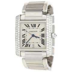 Cartier 18k Gold & Diamond Automatic Large Tank Francaise Watch