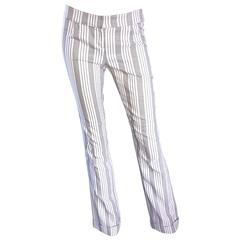 Christian Dior by John Galliano Gray and White Pinstripe Flared Leg Trousers 90s