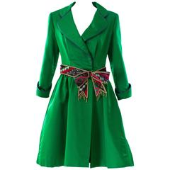 1980s Bob Mackie Green Coat Dress
