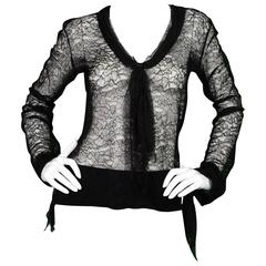 Chanel Black Lace Long Sleeve Blouse sz M