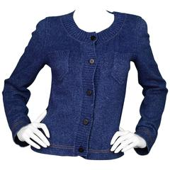 Chanel Blue Denim Look Knit Cardigan Sweater FR36