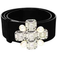 Chanel Black Suede & Pearl Belt sz 85