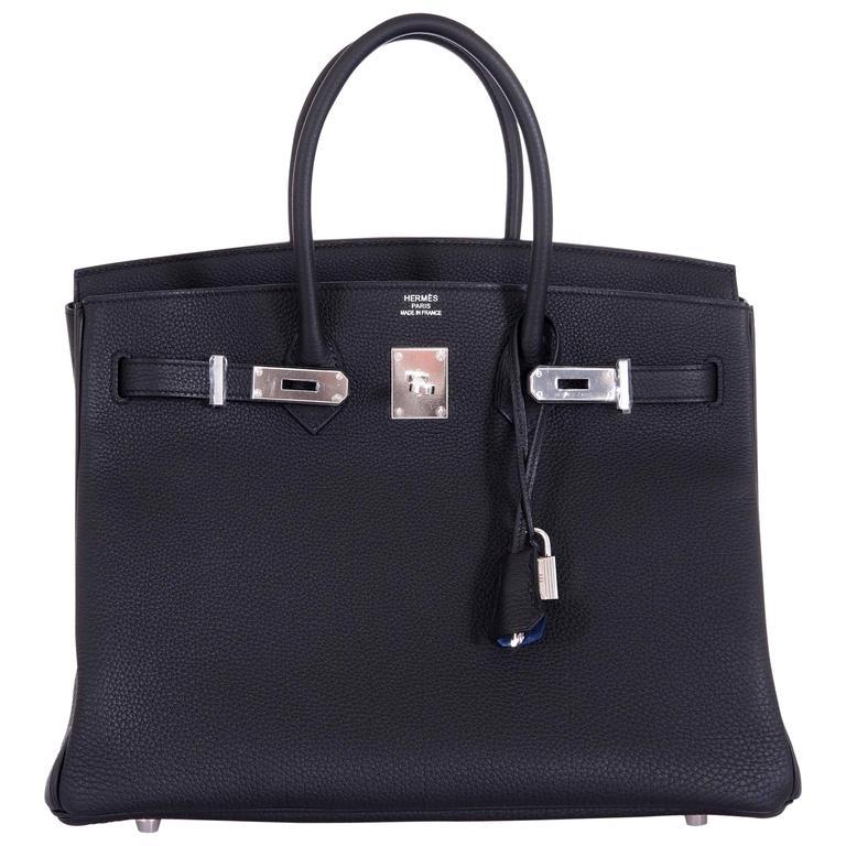 Hermes 35cm Birkin Bag Black Togo * Blue Agate interior LIMITED EDITION 1