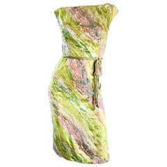 1950s Saks Fifth Avenue Watercolor Demi Couture Beaded Silk Vintage 50s Dress