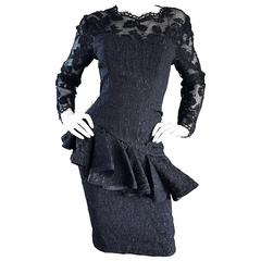 1990s Liancarlo Couture Vintage Avant Garde Black Lace Peplum 90s Cocktail Dress