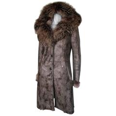 metallic leopard print shearling coat with fox fur hood