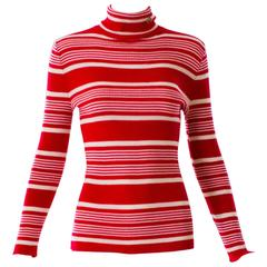 1970s Pierre Cardin Red and White Striped Knit Turtleneck