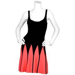 Herve Leger Black & Coral Fit-Flare Bandage Dress sz XS