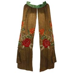 1920's Opulent Metallic-Lame Embroidered Roses Beaded Jeweled Flapper Coat Cape