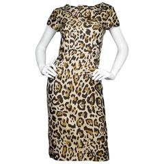 Christian Dior Leopard Print Cap-Sleeve Dress sz US4