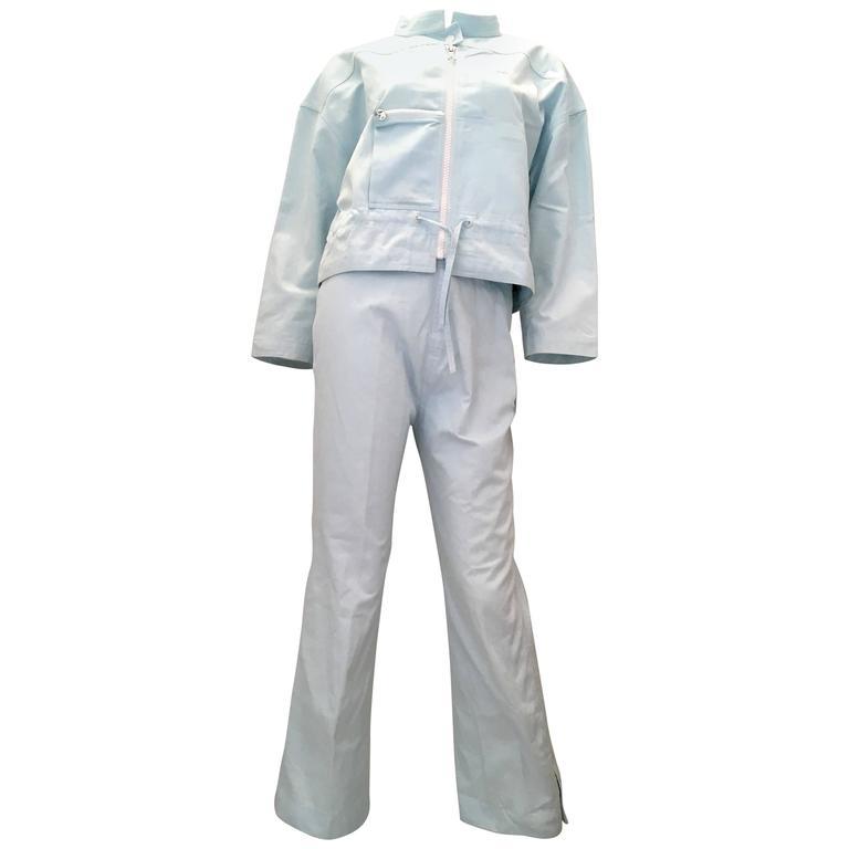 Courreges 2 Piece Light  Blue Cotton Pant Suit - 1980's