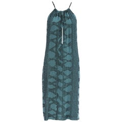 Tom Ford for Gucci Runway Silk Beaded Python Print Shift Dress, Spring 2000