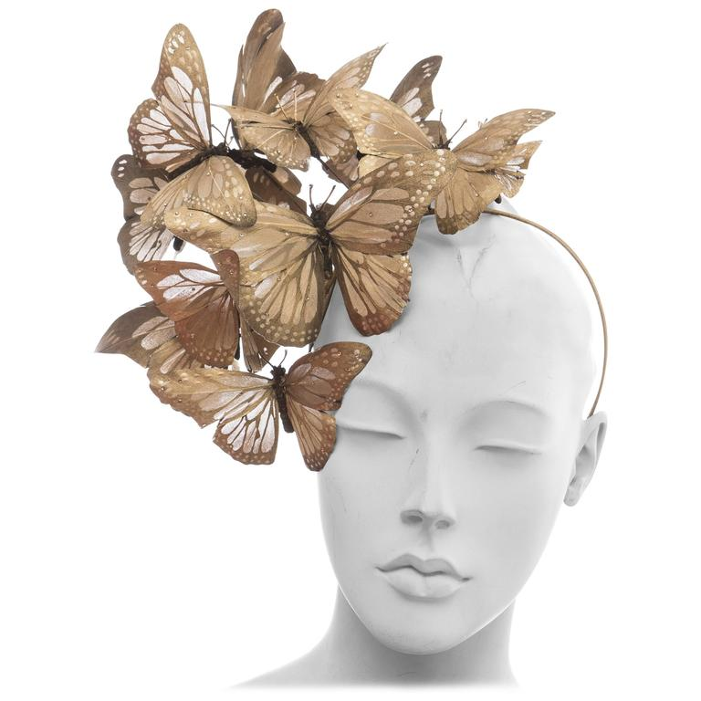 Philip Treacy Headband With Matte Gold Butterfly Appliqués And Jewel Accents 1