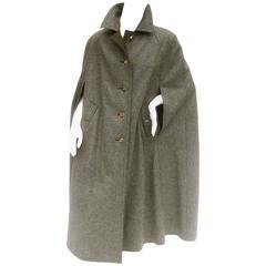Classic Gray Flannel Wool Austrian Cape c 1980s