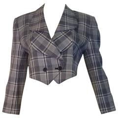 1980s Andre Courreges Fine Weave Patterned Crop Jacket