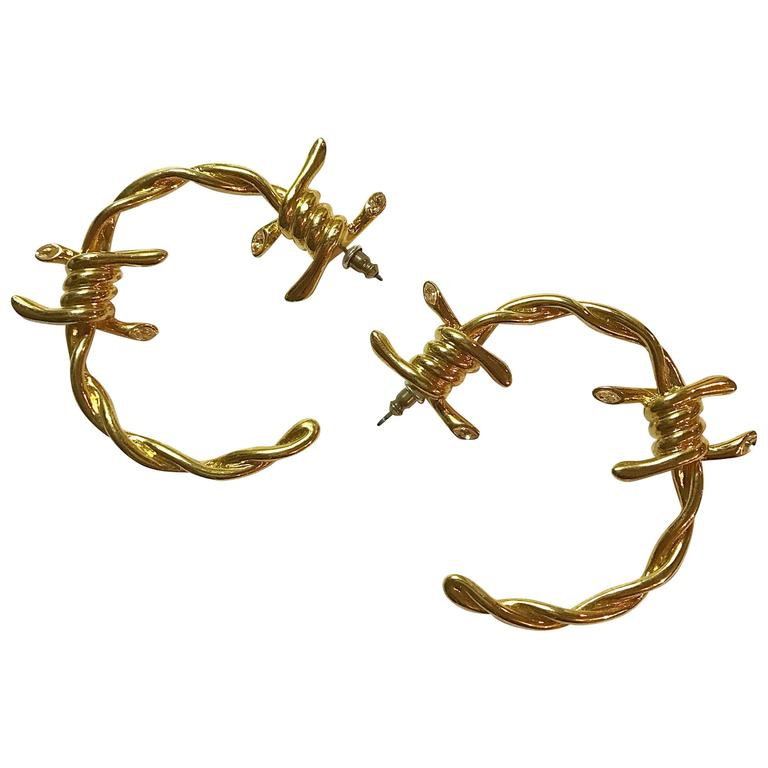 Rare Vivienne Westwood For Agent Provocateur Gold Barbed Wire Big Hoop Earrings 1