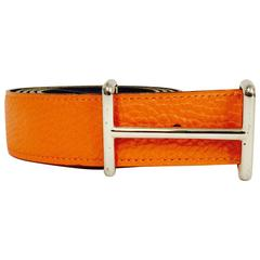 Hermes Reverse Orange Togo & Black Chamonix Belt W Palladium Idem Buckle