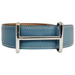 Hermes Reversible Blue Jean Epsom and Gold Chamonix Belt With PHW Idem Buckle