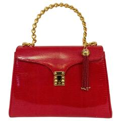 1980s Lana of London Red Lizard Skin Hand Bag W Molded Gold Chain Handle
